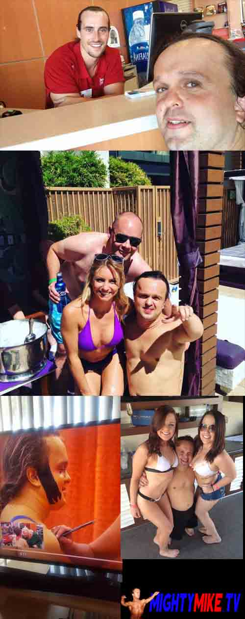 Pool partys Dwarf Mighty Mike, Las Vegas Cosmopolitan dj pool to Wet Republic Dj Tiesto to Los Angeles training Working out. Little person hire tv show SKIN WARS Body Painting challenge, Midgets Fight Competition, Dwarf athletic six pack training shape.
